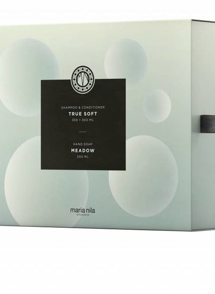 Maria Nila True Soft Shampoo 350 ml + Conditioner 300 ml + Hand Soap Meadow 300 ml