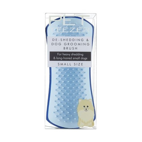TANGLE TEEZER Pet Teezer De-Shedding & Dog Grooming Brush Navy & Sky Blue Small Size